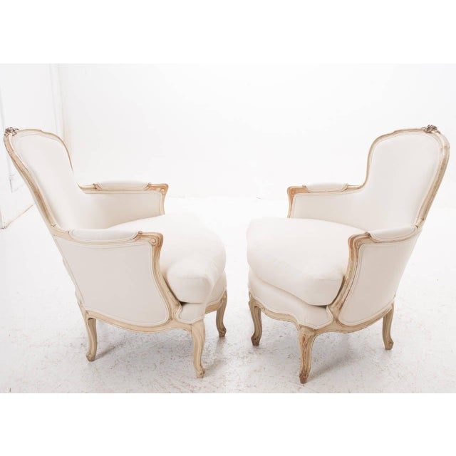 Wood 19th Century French 19th Century Louis XV Painted Bergères - a Pair For Sale - Image 7 of 11