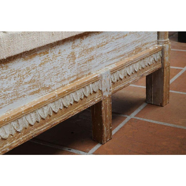 Textile Early Gustavian Bench With Beautiful Carved Decoration All Around. For Sale - Image 7 of 11