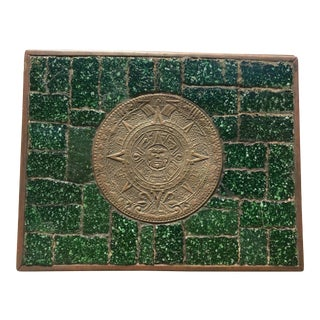 Salvador Tehran of Mexico Emerald Green Brass & Glass Mosaic Box For Sale