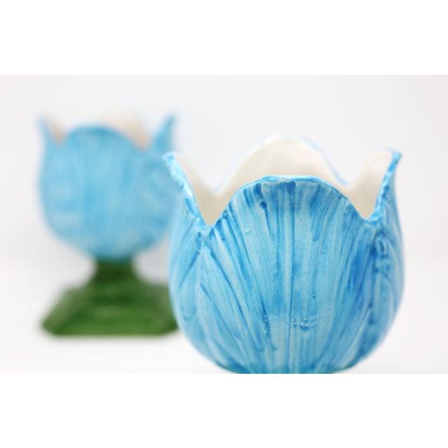 Ceramic Blue Tulip Planters - a Pair - Image 5 of 10