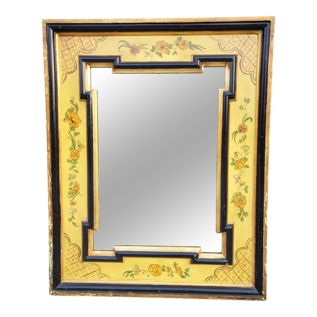 Vintage Italian Hand Painted Mirror For Sale