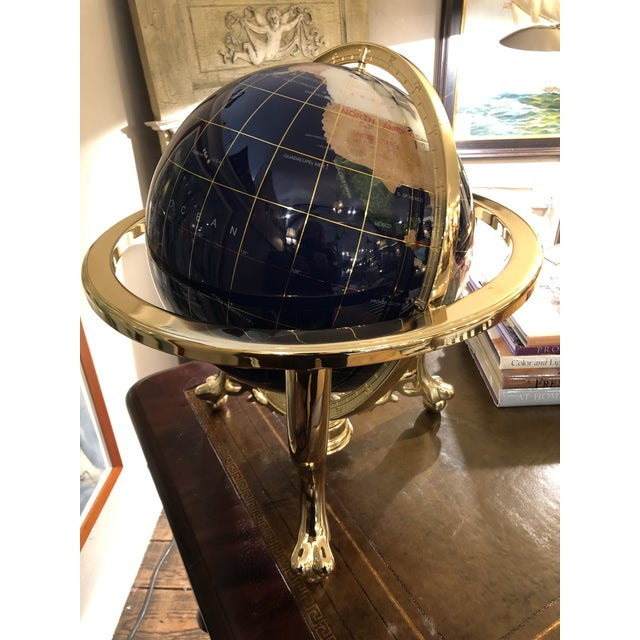 Mixed Stone and Brass Desktop Globe For Sale - Image 4 of 11