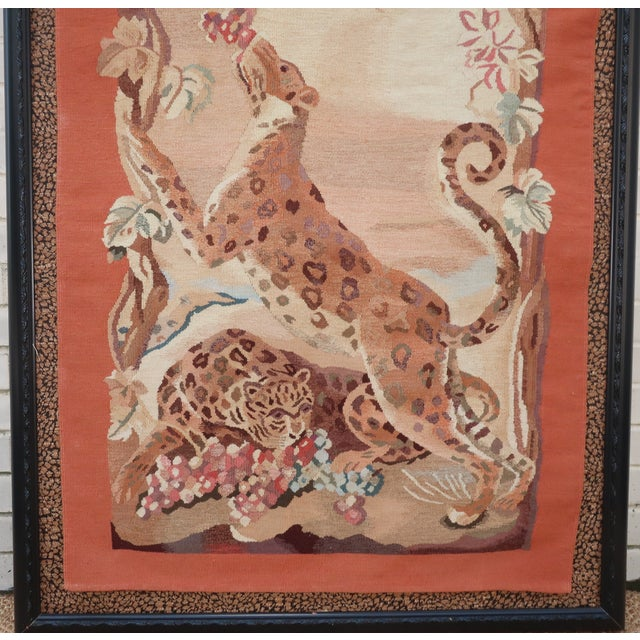 Campaign Vintage Framed Stark Romanian Aubusson Tapestry Rug With Leopards For Sale - Image 3 of 13