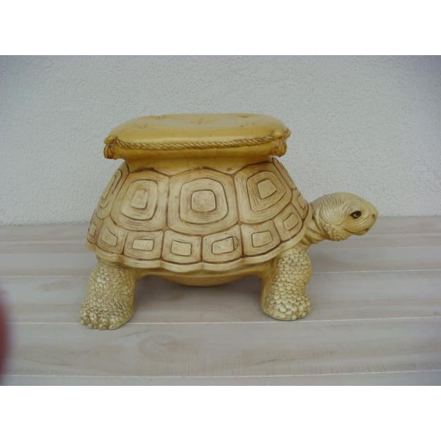 Mid 20th Century Mid-Century Turtle Form Garden Stool Bench Ottoman For Sale - Image 5 of 13