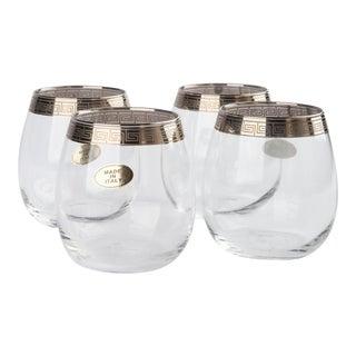 Silver Rimmed Greek Key Italian Cocktail Glasses For Sale