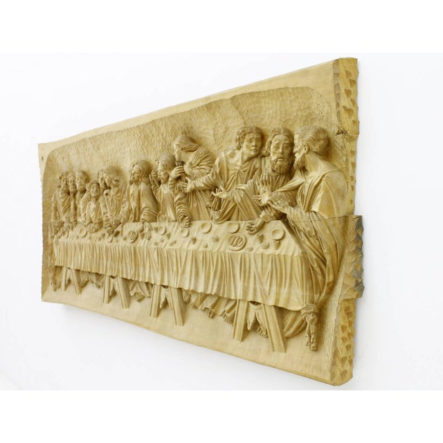 """""""The Last Supper"""" wood carving relief, masterpiece by Emrich Mussner, Germany, 1976. Signed. Measures: W 200 cm (508..."""