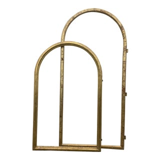 Pair of French Antique Gilt Arched Window Frames For Sale
