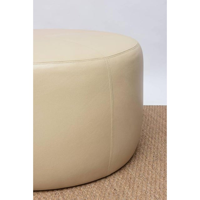 Round Leather Ottoman For Sale - Image 4 of 9