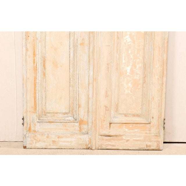 Metal Pair of 19th Century Painted Wood French Doors With Nice Recessed Panels For Sale - Image 7 of 10