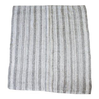 Vintage Ollie Flat-Weave Turkish Rug Brown Gray and White Stripes For Sale