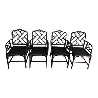 1970s Bamboo Black Gloss Arm Chairs - Set of 4 For Sale