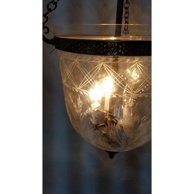Etched Tulip Pattern Bell Jar Lantern For Sale - Image 10 of 11