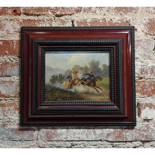 Hermann Volz -19th Century Cavalry Battle -Oil Painting C.1870s For Sale - Image 9 of 9