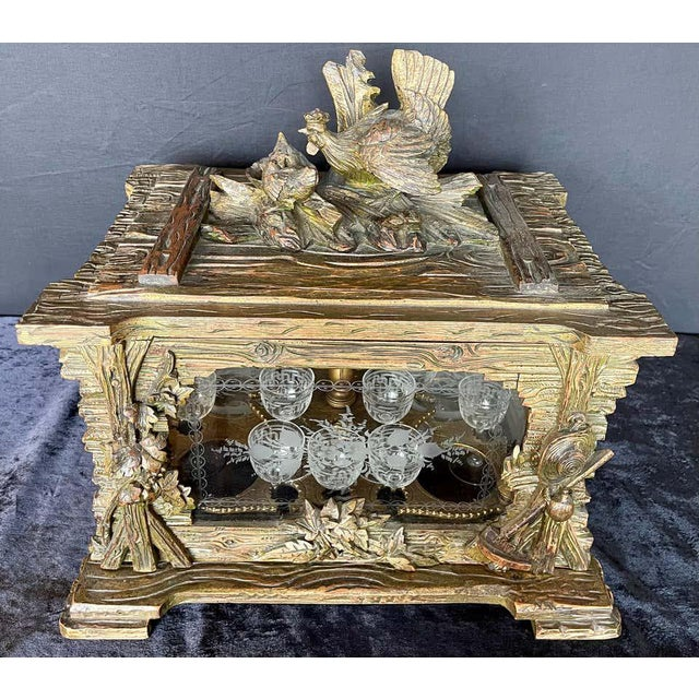 19th Century Black Forest Tantalus Bar For Sale - Image 11 of 13