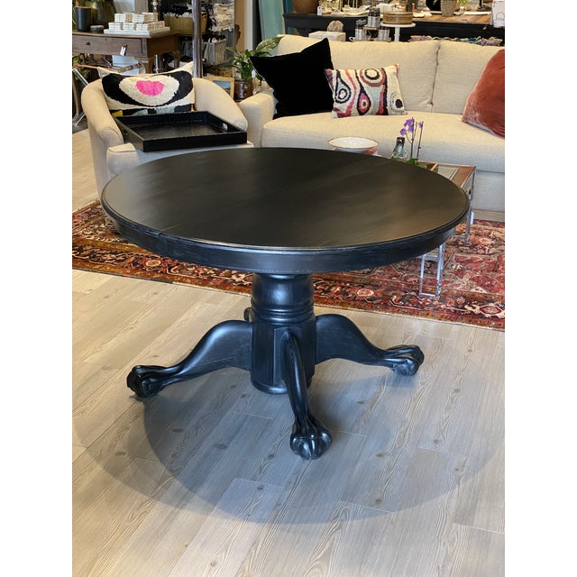 Antique Black Round Oak Claw Foot Dining Table For Sale - Image 12 of 12