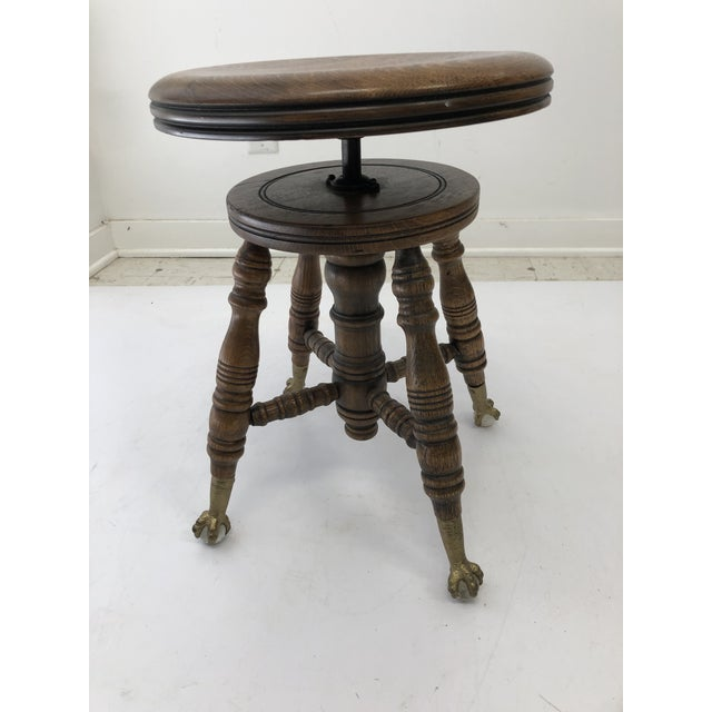 Antique Swivel Wood Piano Stool With Ball & Claw Feet For Sale - Image 13 of 13