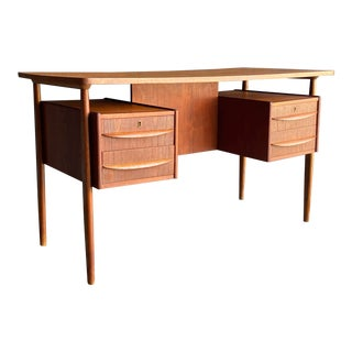 Danish Modern Teak Floating Desk For Sale