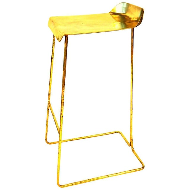 2010s Hand-Sculpted Brass Stool, Misaya For Sale - Image 5 of 5