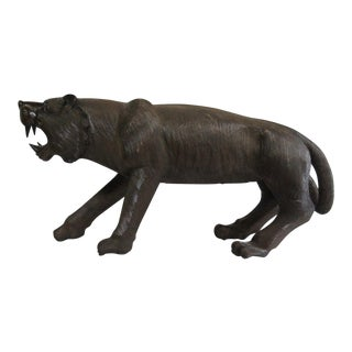 Mahogany Carved Panther Statue Sculpture For Sale
