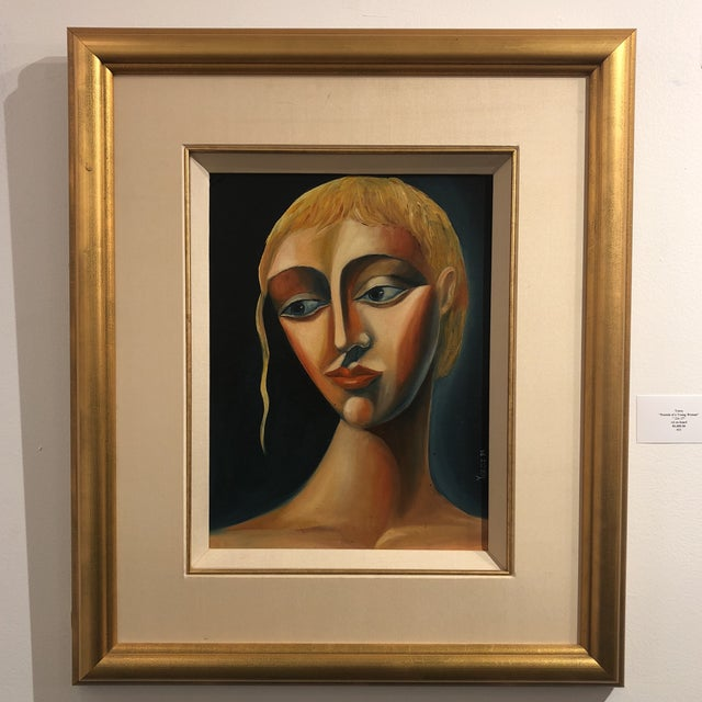 1970s Vintage Yuroz Young Woman Portrait Oil on Board Painting For Sale - Image 11 of 11