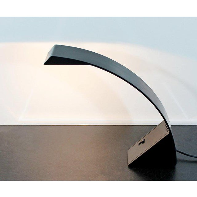 For your consideration is an original, Arcobaleno, curved black enameled aluminium, halogen desk lamp, designed by Marco...