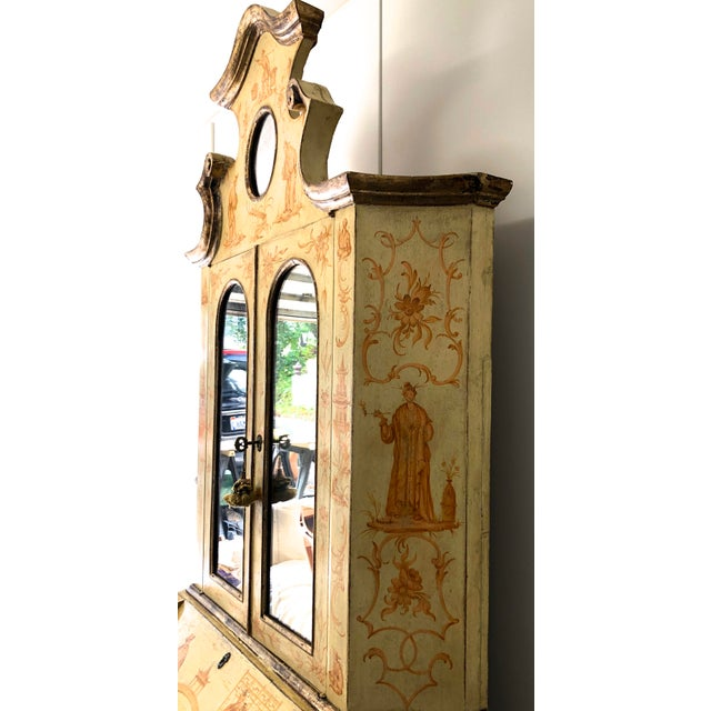 19th C. Italian Hand Painted Secretary Bookcase With Chinoiserie Decor For Sale - Image 9 of 11