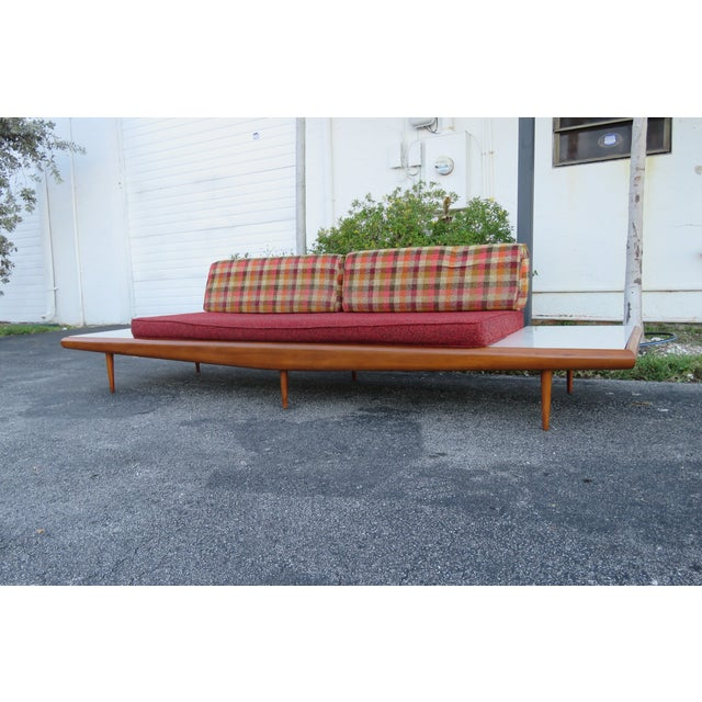 Mid Century Modern Adrian Pearsall Sofa XL Travertine Marble End Tables For Sale - Image 10 of 13