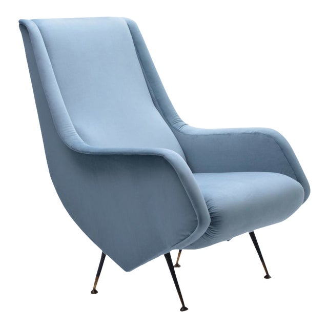 Italian Blue Armchair from ISA Bergamo, 1950s For Sale