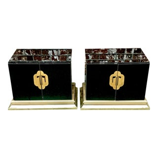 1970s Hollywood Regency Ello Black Mirrored Nightstands - a Pair For Sale