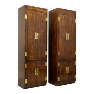 Henredon Scene One Campaign Style Armoire Cabinets - Pair For Sale