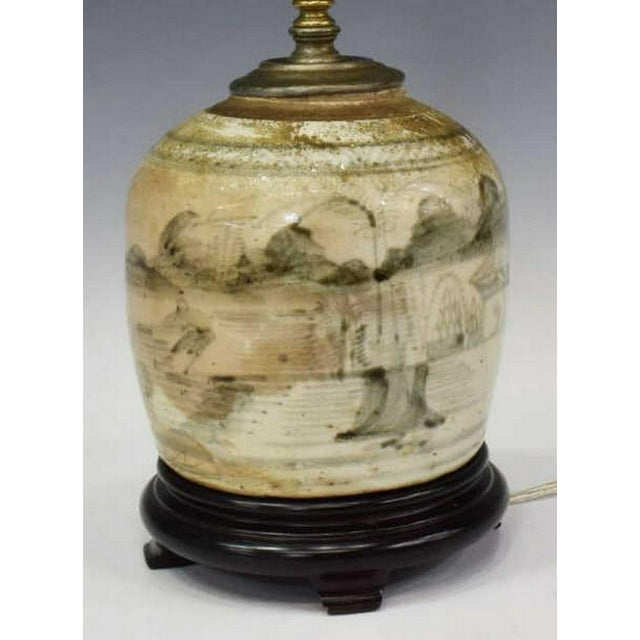 2000 - 2009 Glazed Chinese Sage Green Ginger Jar Table Lamp With Shade For Sale - Image 5 of 13