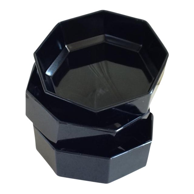 Black Ceramic French Bowls - Set of 3 For Sale