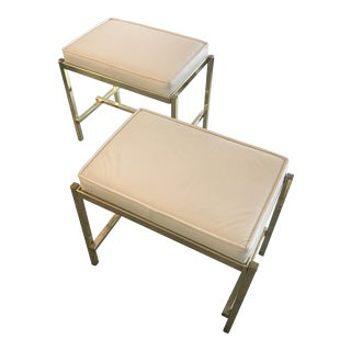 1970s White & Brass Benches - a Pair