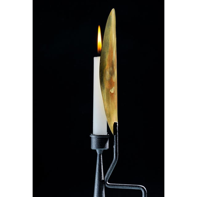 """Modern Unique Sculpted Steel Candleholder """"Feather"""", Signed by Lukas Friedrich For Sale - Image 3 of 7"""
