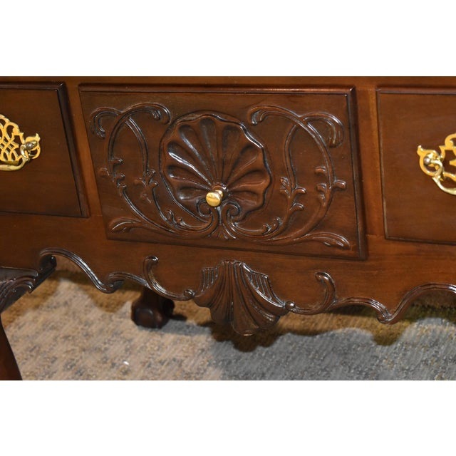Councill Furniture Vintage Chippendale Councill Craftsmen Carved Mahogany Lowboy For Sale - Image 4 of 13