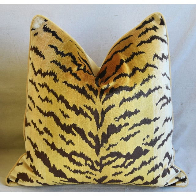 """Cotton Scalamandre Le Tigre Tiger Silk Feather/Down Pillow 23"""" Square For Sale - Image 7 of 7"""