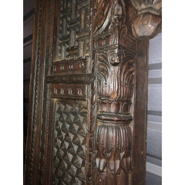 Wood Antique Indian Carved Welcome Gate Teak Arch For Sale - Image 7 of 12