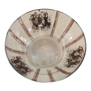 Mid-Century Briard Greek Pattern Glass Serving Bowl For Sale