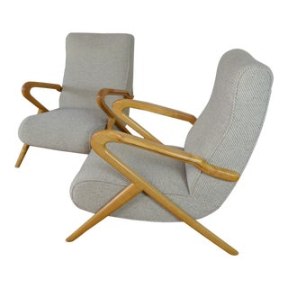 Carlo DI Carli Italian Mid Century Modern Arm Chairs - a Pair For Sale