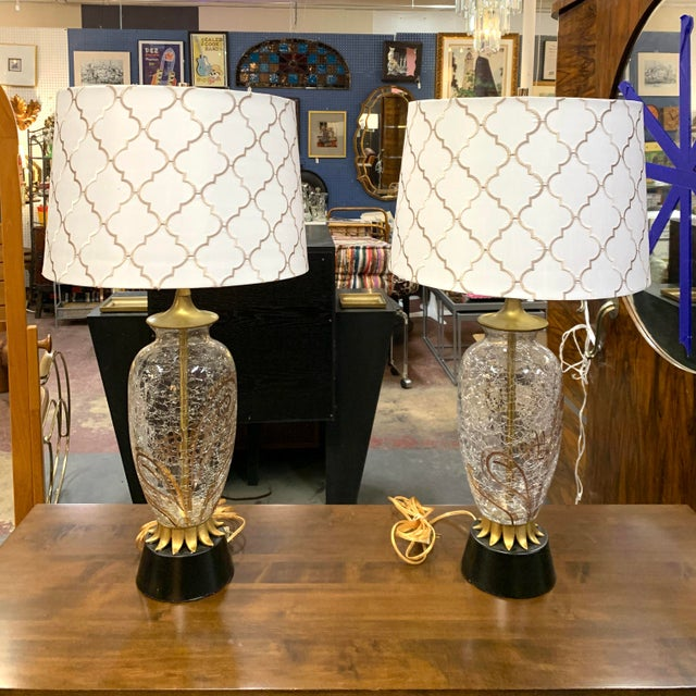 1960s Hollywood Regency Crackled Glass Lamps and Shades - a Pair For Sale - Image 11 of 11
