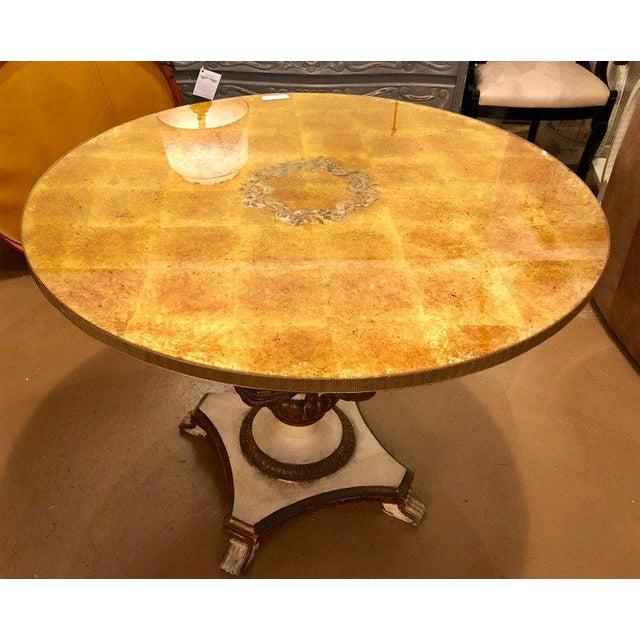Baroque Antique Urn Form Base Verne Eglomise Center Glass Top Table For Sale - Image 3 of 13