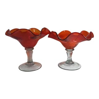 1870-1890 Antique Art Glass Compotes With Clear Blown Glass Stems and Applied Red Ruffled Glass Bowls - a Pair For Sale