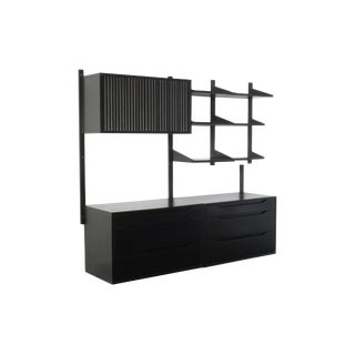 1960s Mid Century Modern Black Lacquer Modular Wall Unit