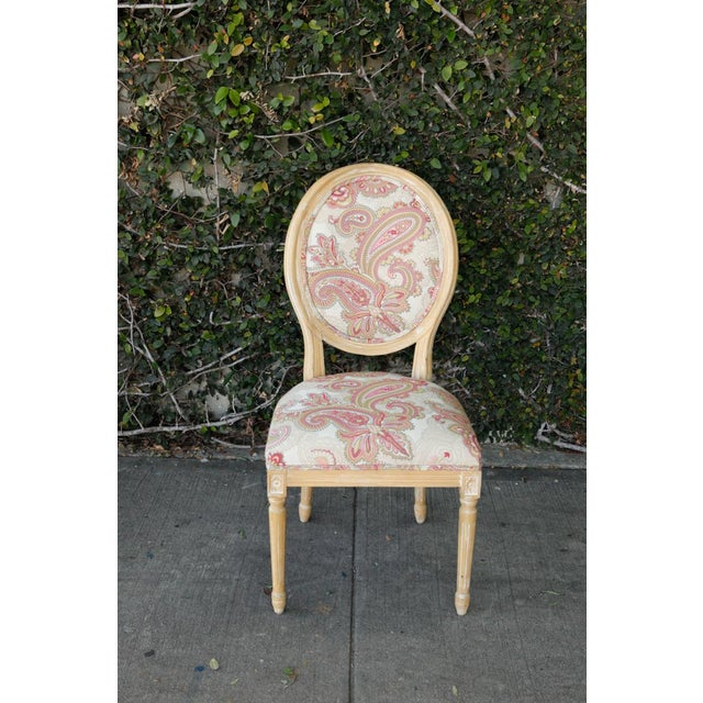 French Louis XVI Style Paisley Side Chairs - a Pair For Sale - Image 3 of 7