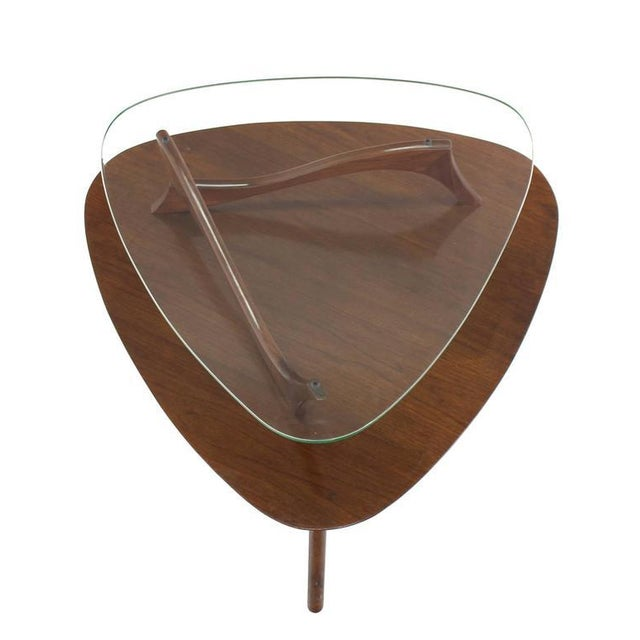 Glass Pair of Round Triangular Tri Legged Two Tier Side End Tables For Sale - Image 7 of 10