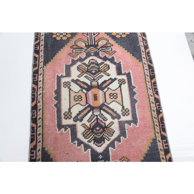"""1960s 1960s Turkish Pure Wool Carpet - 43"""" X 21"""" For Sale - Image 5 of 11"""