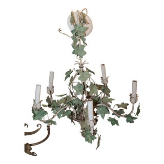 Early 20th Century Palm Beach Regency Floral Ivy on Vines 5 Light Tole Chandelier For Sale