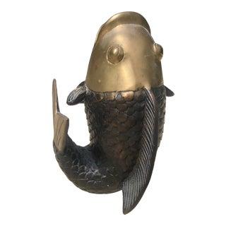 Regency Style 1970s Brass Fish Vase Fish For Sale