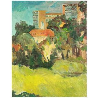 """Clement St. Park"", April 1998 Expressionist Cityscape/Landscape Painting in Oil on Canvas For Sale"
