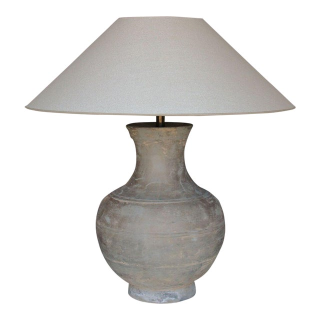 Large Chinese Han Dynasty Period Unglazed Vase as Table Lamp For Sale